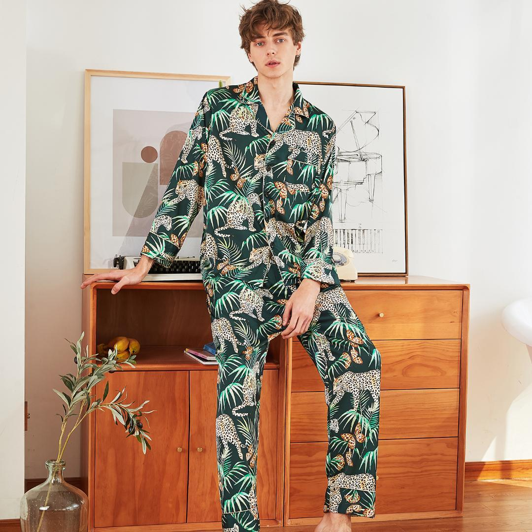 Silky Satin Men Long Sleeve Shirt+Pants Pajama Pijama Set Spring ... ad0824be4