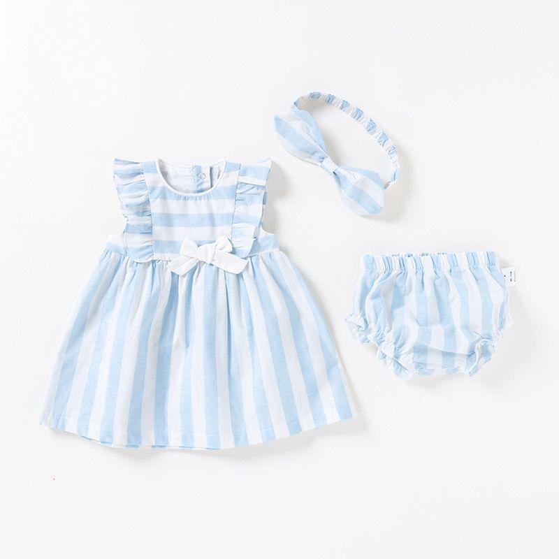 9afce61ff8e0b Vlinder Baby Girl Dress Baby Clothes Summer Princess Style Cute Bow Tie  Dress Set Newborn Short Sleeves Infant Dresses 3pcs Set J190528