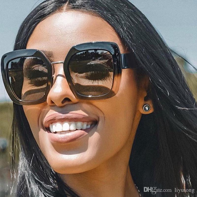 cabe0182d60 Retro Square Sunglasses Women Brand Designer Bee Metal Frame Oversized  Sunglasses Fashion Female Gradient Black Sunglasses Shades Oculos UV Mens  Sunglasses ...