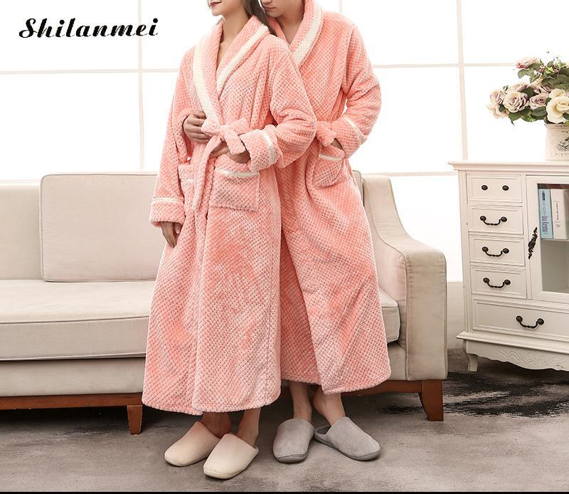 14d24d306b904 Acheter Doux Hiver Flanelle Coral Polaire Couple Robe D'amoureux Kimono  Peignoir Chemise De Nuit Épaisse Chaud À Manches Longues Vêtements De Nuit  De Bain ...