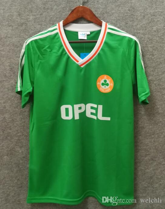 buy popular 9c5af 2af2a Classi Ireland retro soccer jersey 1990 world cup Ireland home 90 92  vintage Irish Sheedy size S-XXL football shirts custom name number