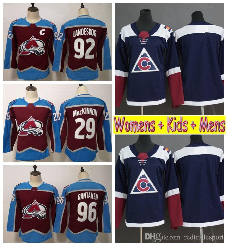 916524051 2019 Ladies Colorado Avalanche Hockey Jerseys Home 29 Nathan MacKinnon 92  Gabriel Landeskog 96 Mikko Rantanen Kids Womens Mens Hockey Shirts UK 2019  From ...