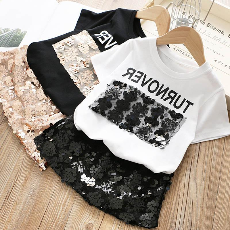 Fashion 2019 new Summer Girls Outfits lace floral Kids Sets sequin T shirt+Pencil Skirts Boutique girl Dress Suits kids clothes A4616