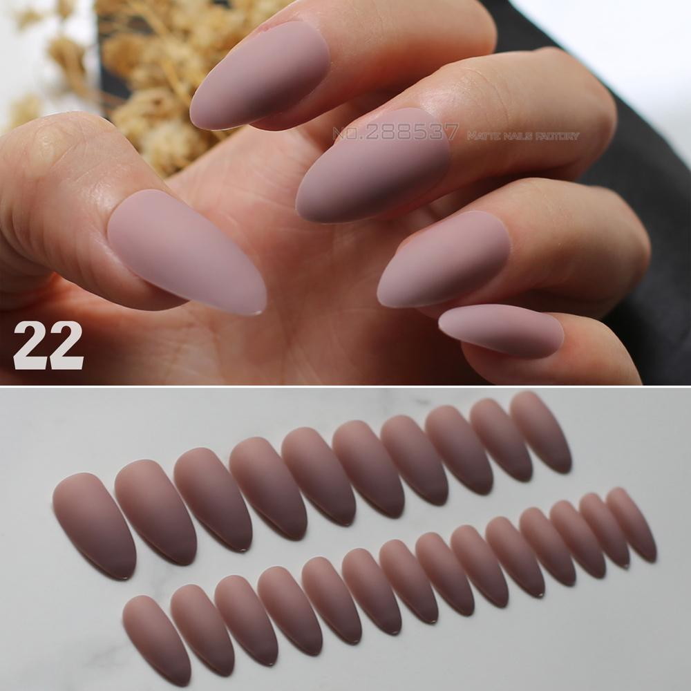 Brown Matte Stiletto Nails Pink Medium Fake Nails Red False Nude Full Nail Tips Easy To Wear Multicolor Selection Nails Design Nails Designs From Grega, ...