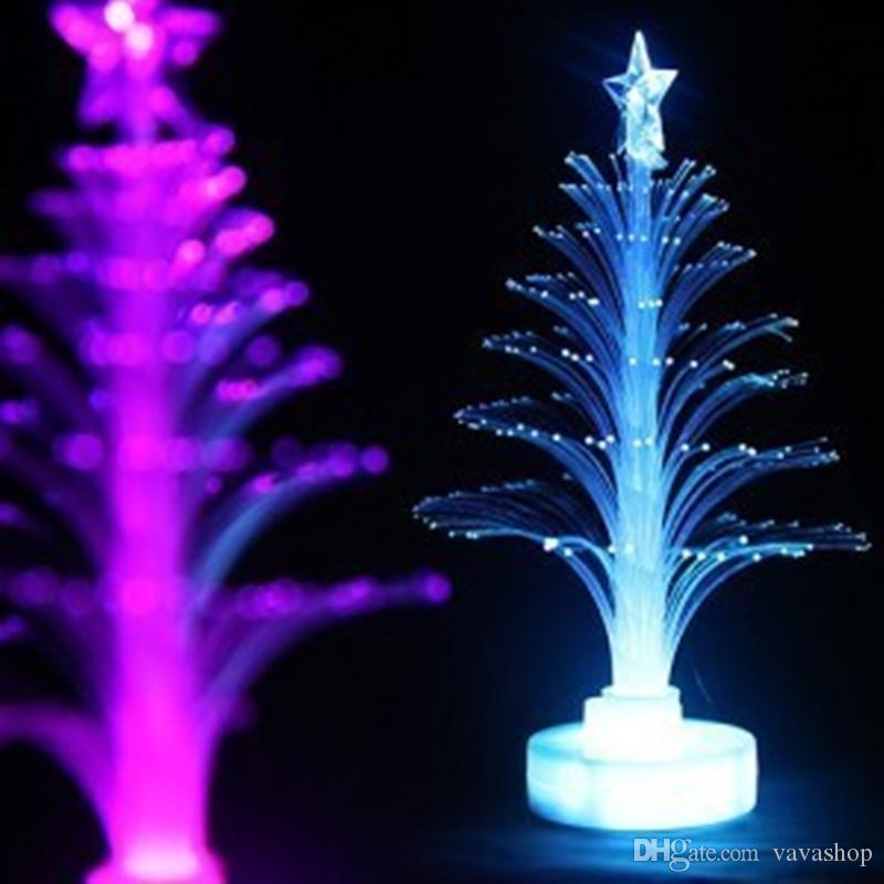 Jueja Novelty Glowing Fiber Optic Christmas Tree Night Lamp Led Bottom Sticker Night Light for Children Romantic Home Decorative