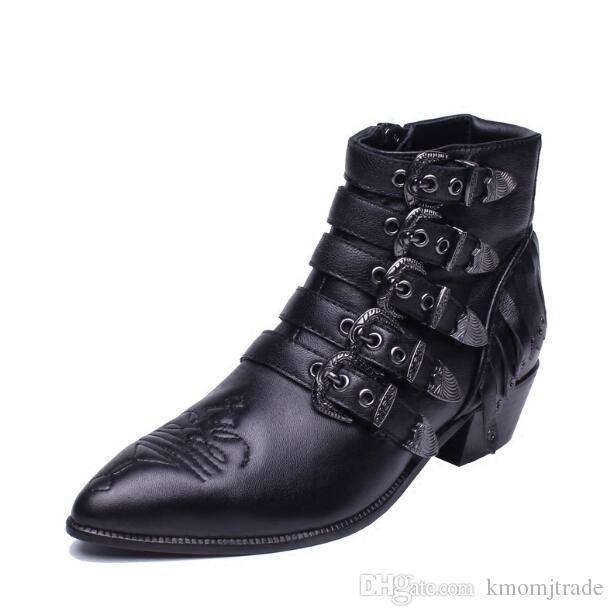 on sale 4bbd3 5940e Donna Moda Ash Stivali da motociclista Fibbie in vera pelle Nuovi popolari  Punk Stivali punta a punta scarpe