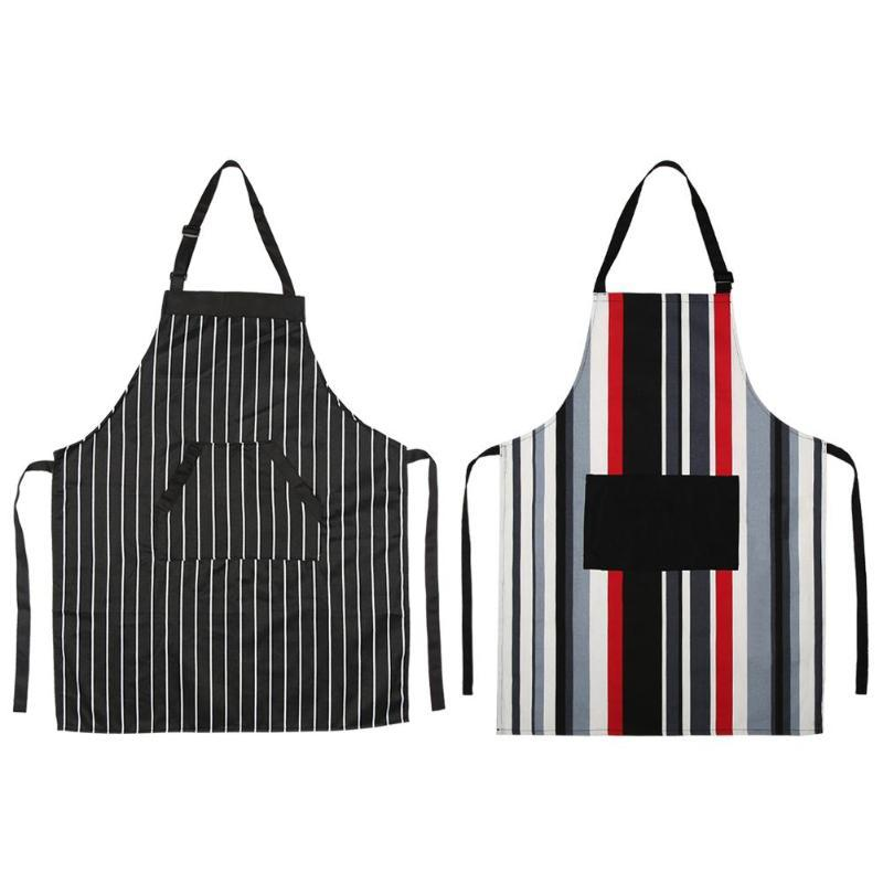 Waterproof Striped Apron Cotton Kitchen Restaurant Cooking Pinafore with Pocket Beautiful and Practical Good Kitchen Assistant