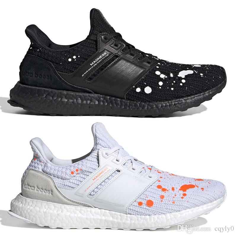8eb9705cf12 High Quality Madness Ultra Boost Splatter Pack Shoes 2019 New Fashion Men  Women Ultraboost UB 4.0 Black White PK Sneakers Size 36 44 Navy Shoes Blue  Shoes ...