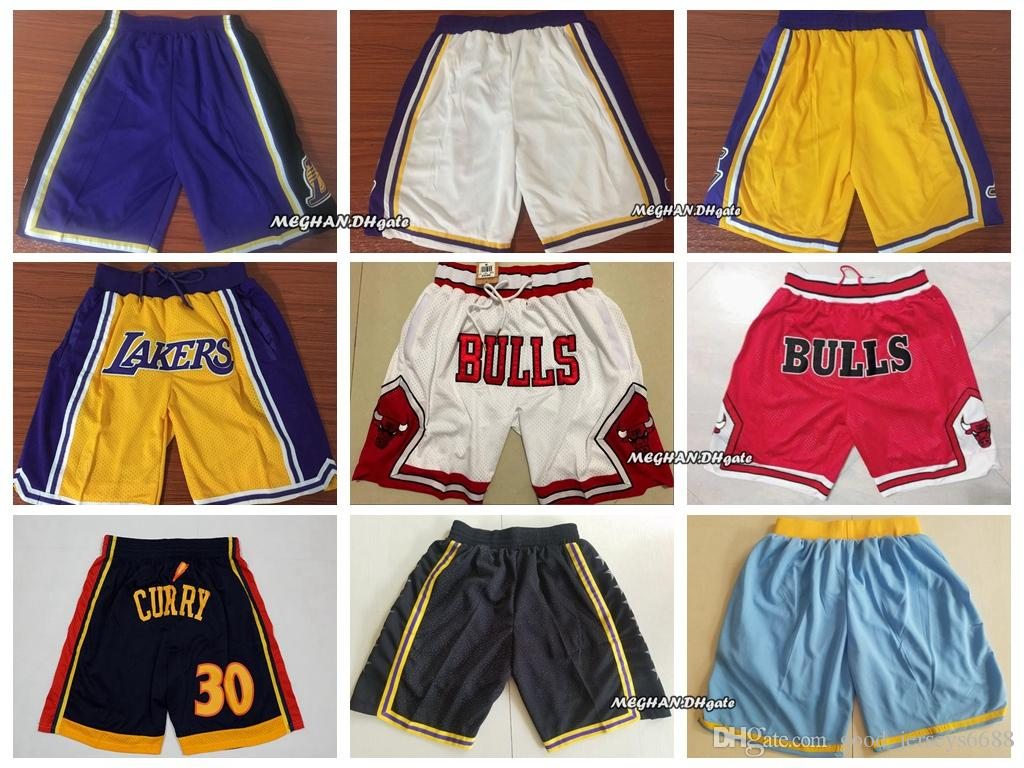 9705e5ed828 2018 Los Angeles Laker Just Don Shorts 23 LeBron James 8 24 Bryant Red  White Basketball Shorts Yellow White Blue Black Purple UK 2019 From Top 06