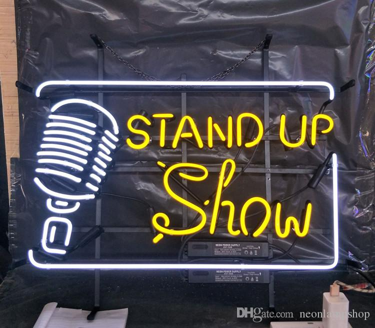 afef7a396e996 STAND UP Show Neon Sign Light Bar Advertising Entertainment Decoration Art  Display Real Glass Lamp Metal Frame 17 24 30 40