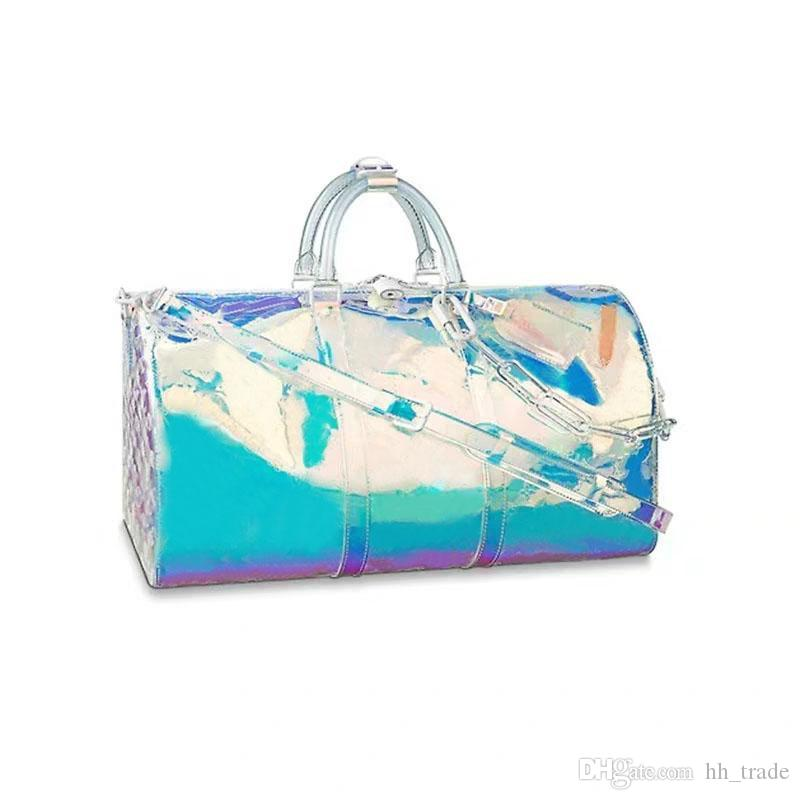 2019 brand fashion luxury designer bags 19SS PVC laser colorful prism keepall 50 luggage mens womens designer handbags purses duffle bag