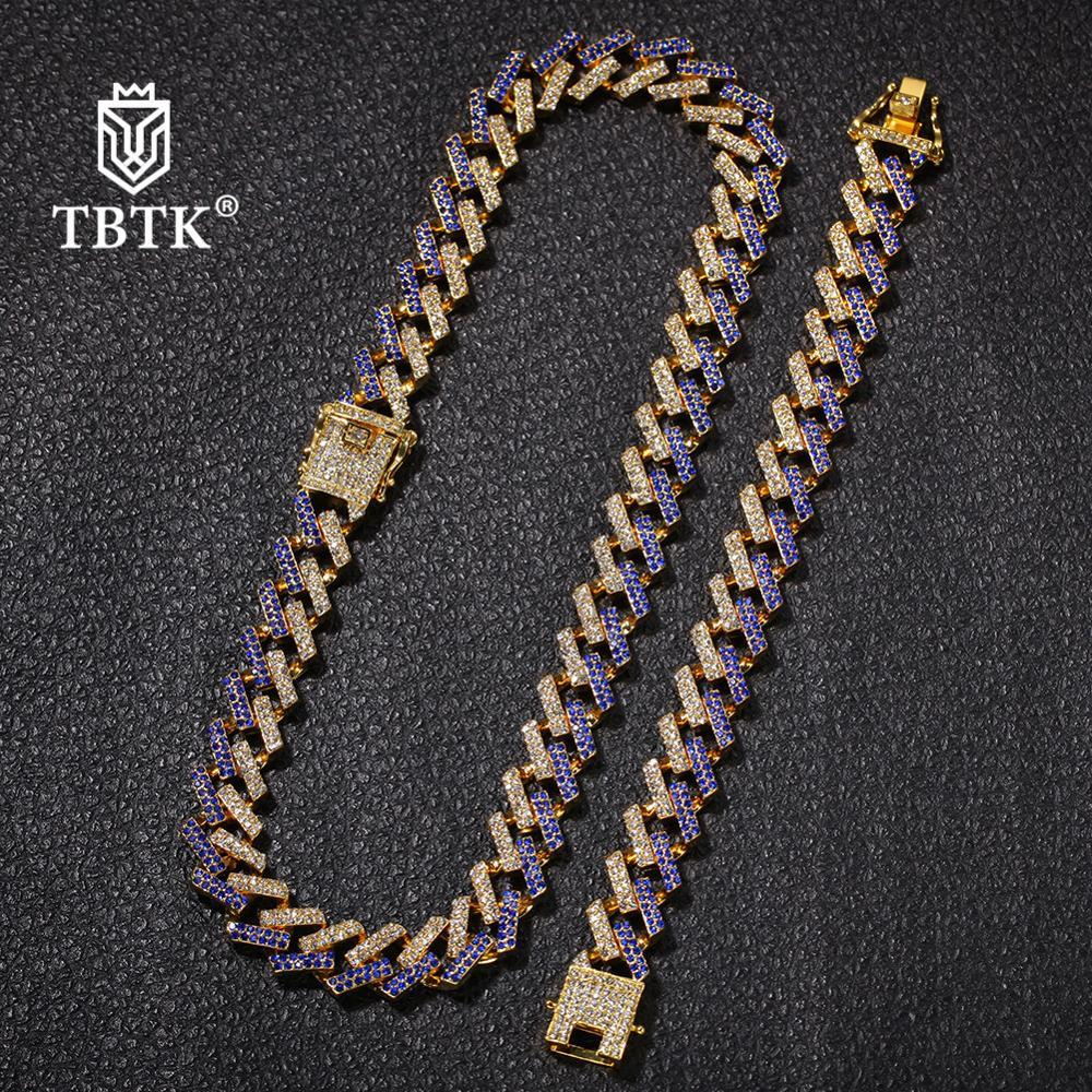 TBTK Fashion Gold NE+BA 15mm Iced Out Cuban Link Chain Neckalce & Bracelet 2 Row Prong Crysta Zinc Alloyl Jewelry Sets Unisex