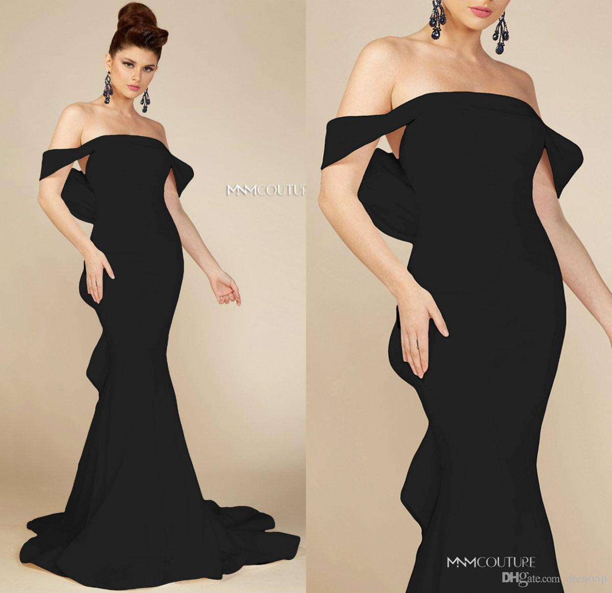 1a082dfb6b9 2019 Black Evening Dresses Satin Off The Shoulder Ruffles Bow Sweep Train  Mermaid Prom Dress Custom Made Formal Party Gowns Evening Dresses For  Teenagers ...