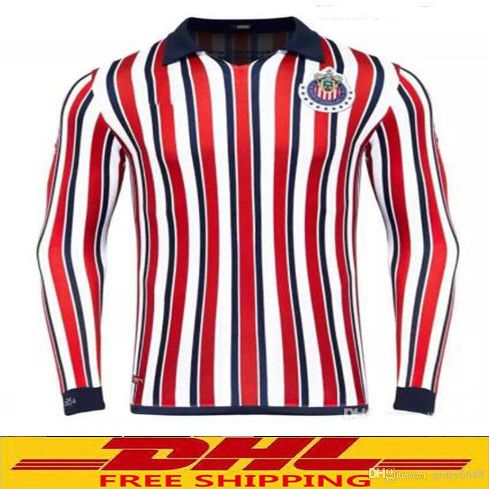 buy online ba08b 327df DHL Free shipping 2018 2019 Chivas long sleeve Soccer Jersey 2018 Chivas  jersey 18 19 Size can be mixed batch