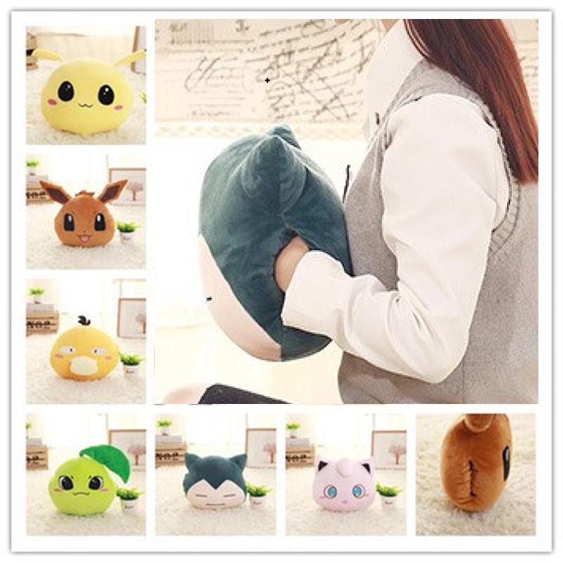 New Creative Hand Warmer Soft Pillow Snorlax Psyduck Jigglypuff Eevee Plush Toy For Children Office Plush Anime Stuffed Doll J190717