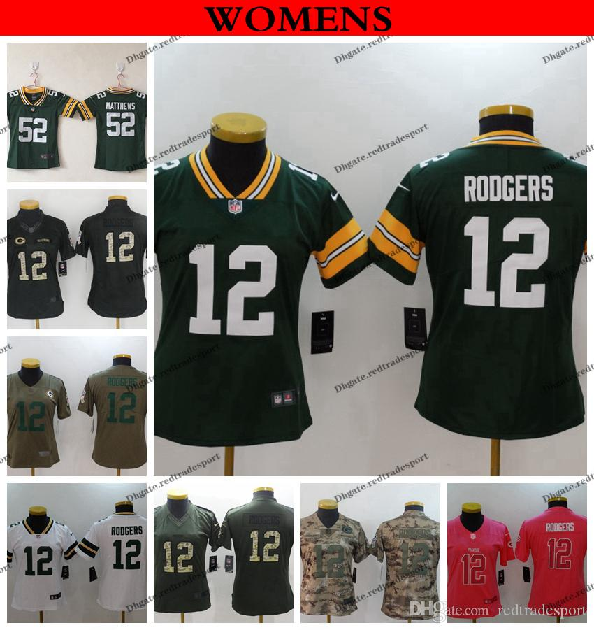 brand new ef71d 7a02e Womens Green Bay Ladies Packers 2019 Camo Salute to Service 12 Aaron  Rodgers 52 Clay Matthews Girls Football Jerseys