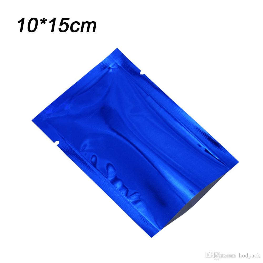 100pcs/lot 10*15cm Smooth Surface Blue Open Top Aluminum Foil Package Bag Food Grade Mylar Foil Coffee Cookies Package Bags Retail