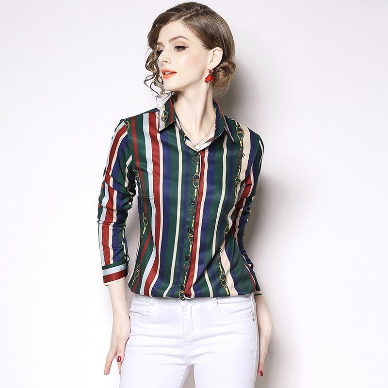 ff4dbba0be17 2019 2019 Lady OL Career Formal Striped Shirt Lapel Neck Long Sleeve T Shirt  Printing Blouse Clothing From Sinofashion
