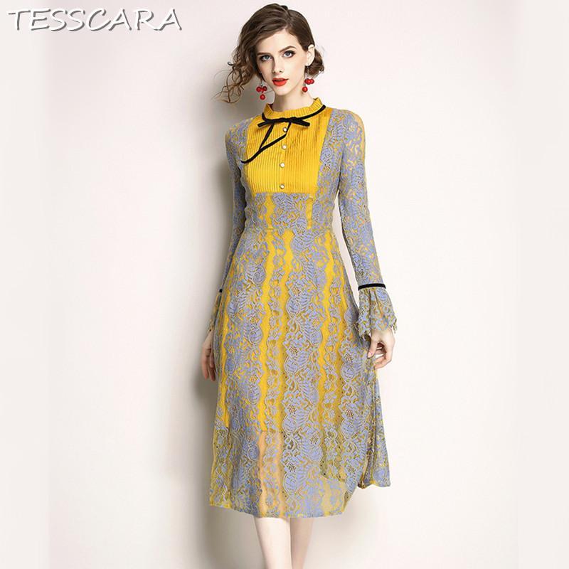 b826ac1f6f42 TESSCARA Women Spring Luxury Lace Dress Shirt Female Elegant Yellow Robe  Femme High Quality Vintage Designer Long Party Vestidos Sundress Outfits  Sundresses ...