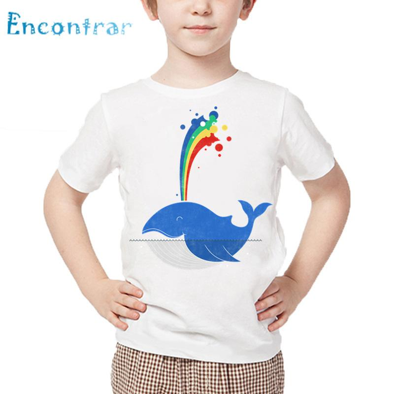 Kids Funny Food And Cute Animal Whale In Summer Print T shirt Baby Cartoon T-shirt Boys and Girls White Tops,HKP5556