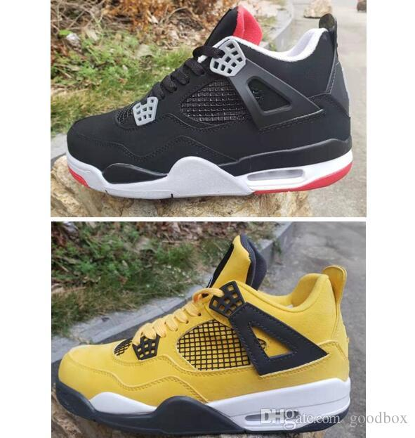 9b4bbf01ad5 2019 OG 4 Bred 4s LS Lightning 4 Yellow Black Red Fire Red TORO BRAVO ABOVE  With Box Best Quality Men Basketball Shoes Boys Basketball Shoes Cp3 Shoes  From ...