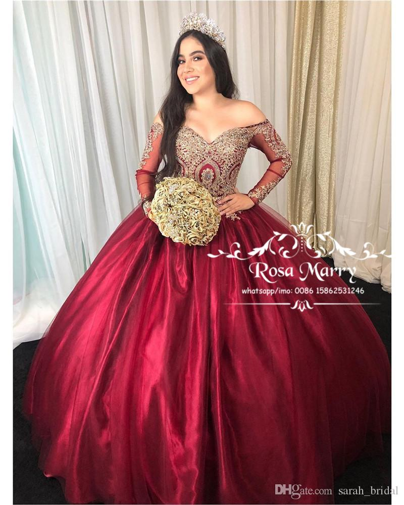 239c1e5c71f45 Red Sweet 16 Masquerade Quinceanera Dresses 2019 Ball Gown Off Shoulder  Gold Lace Arabic Vestidos 15 Anos Girl Birthday Prom Gowns
