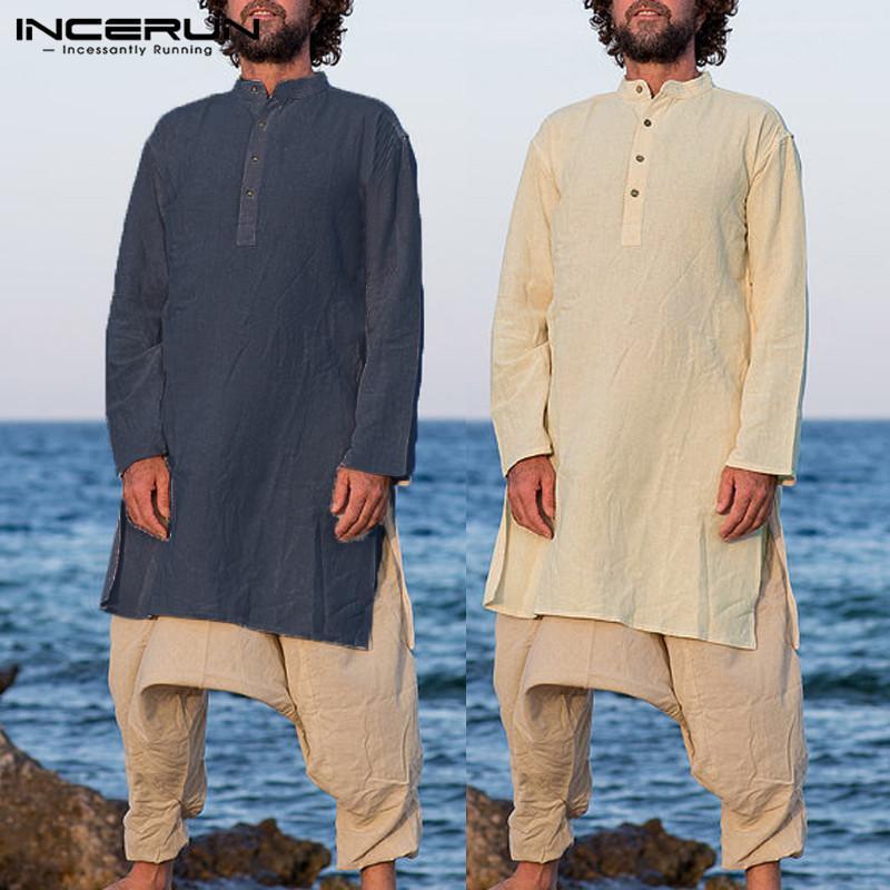 e28a572a80 Compre NUEVO Para Hombre Traje Kurta Camisa De Manga Larga Cuello Alto Tops  Algodón Camisas Largas Oriente Árabe Árabe Indio Indio Hombres Ropa Kaftan  A ...