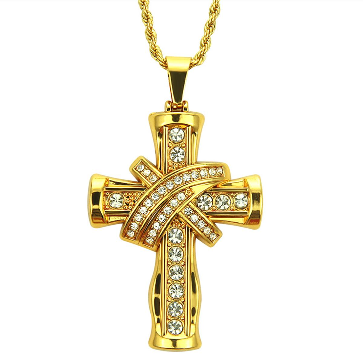 18k Gold Iced Out Crystal Cross Pendant Necklace with 30inch Rope Chain Necklace Hip Hop Jewelry Mens Necklace Gifts for Man