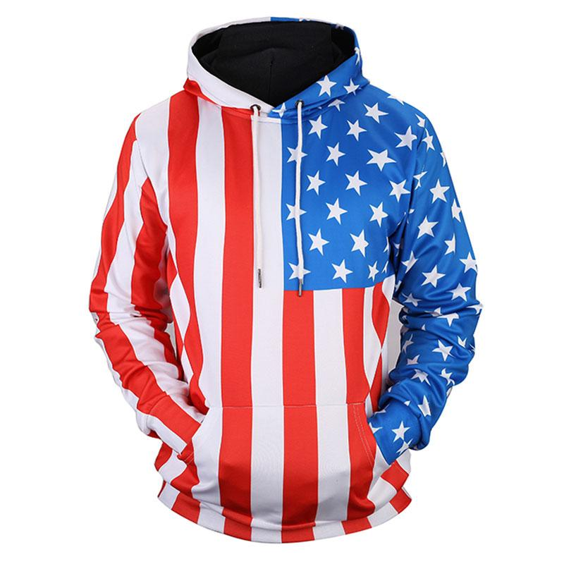 New Arrivals Men/Women Thin Sweatshirts 3d Print Stars Striped USA Flag Hooded Hoodies Unisex Pullovers WY029