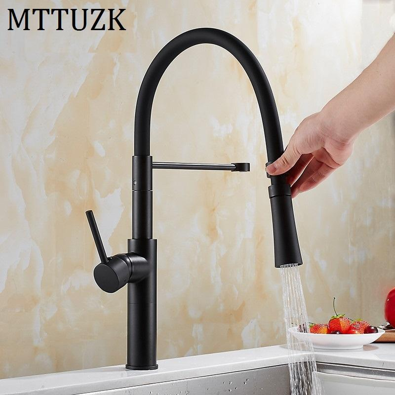 2019 Mttuzk Black Brass Kitchen Faucet Deck Mount Pull Down Dual