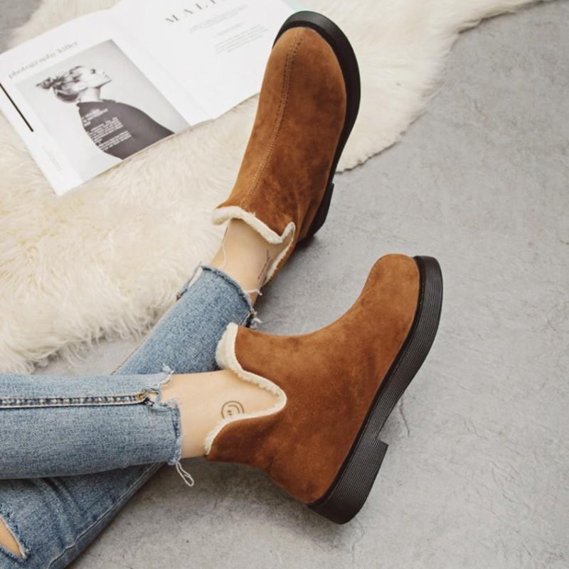 baed6832 Compre COOTELILI Cálido Piel De Felpa Mujeres Botas De Nieve Botas De  Tobillo De Moda Para Las Mujeres Resbalón En Calientes Zapatos Planos Mujeres  Botas De ...