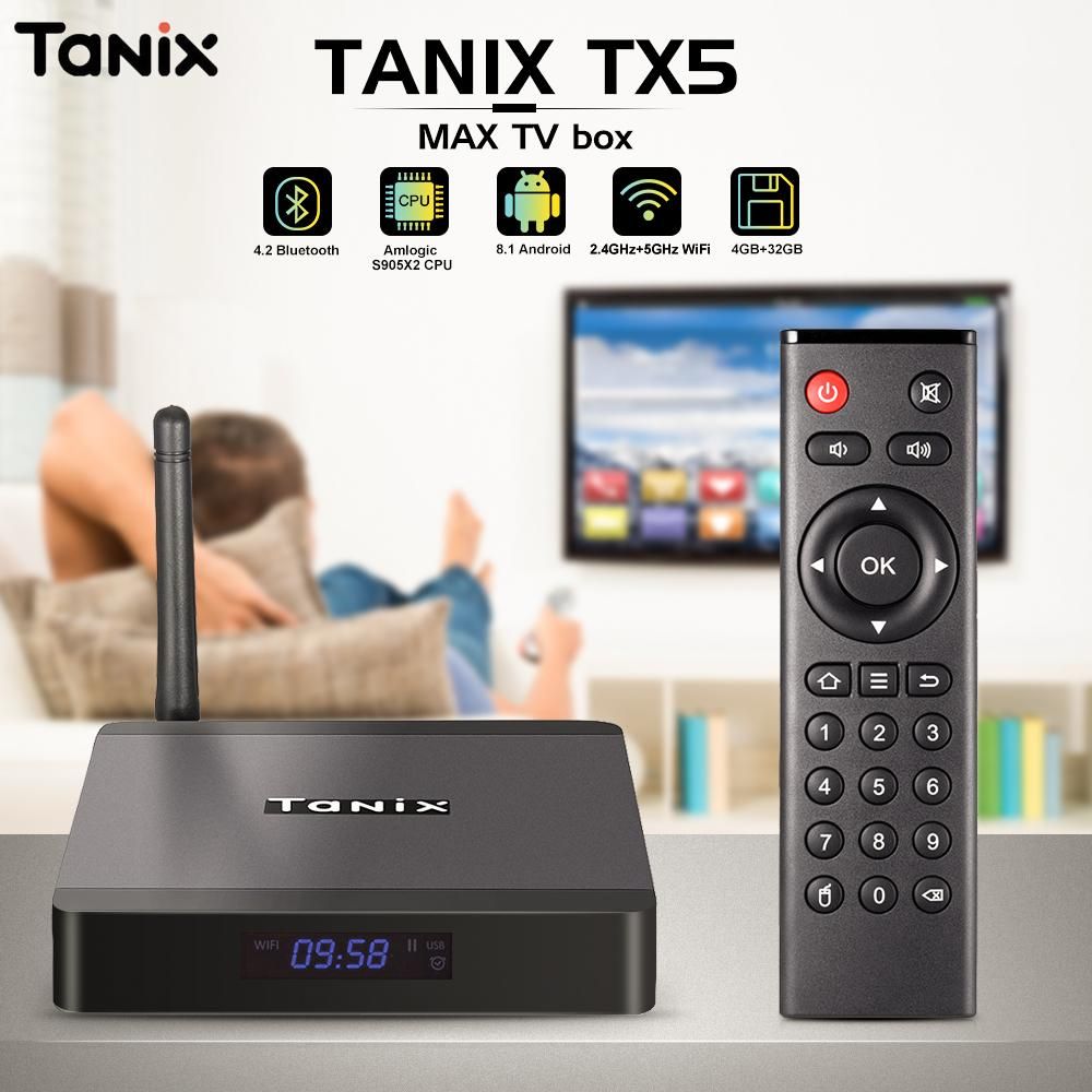 Tanix TX5 Max TV Box Android 8 1 Box TV Amlogic S905X2 4GB LPDDR4 32GB EMMC  2 4GHz 5GHz WiFi BT4 2 Support 4K H 265 Set Top Box