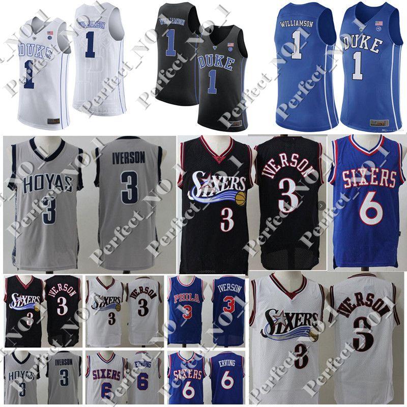 e09f7c664 College NCAA Mens 76ers Allen 3 Iverson Jersey Julius 6 Erving Duke ...