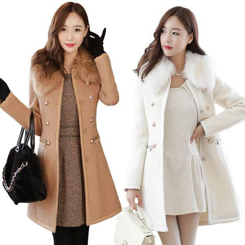 a1ddec7869149 Patchwork Women Woolen Coat Slim Women s Jacket Fur Collar Cashmere ...