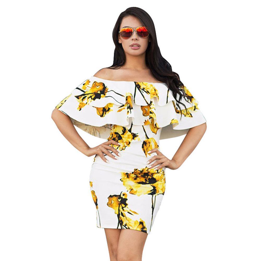 ee4118d9d5f Acheter Femmes Sexy Épaule Robe D été Slim Packge Hip Robe Floral Print  Volants Dos Nu Moulante Élégante Robe Rose   Jaune De  34.1 Du Jincaile07