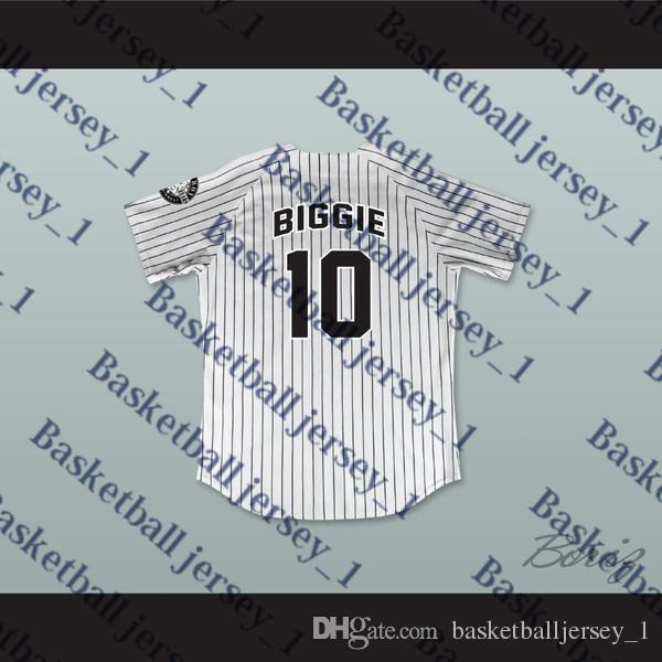 Biggie Smalls 10 Bad Boy jersey de béisbol pinstriped con 20 años Patch-1 MUY BUENO