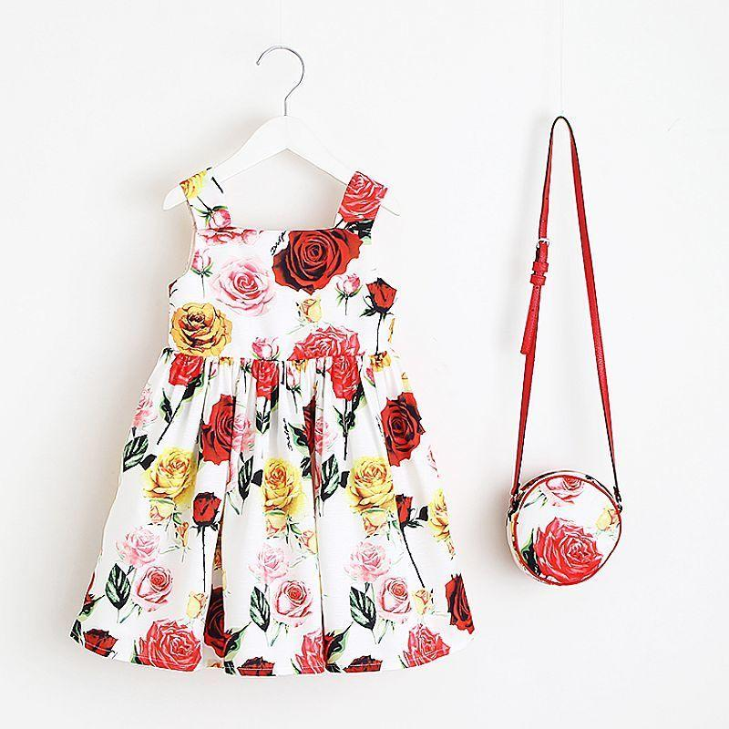 7c75e0eb5 2019 Toddler Girls Dresses With Bag 2019 Brand Baby Girl Summer Dress Kids Clothes  Floral Princess Dress Children Clothing Vestidos From Zerocold06, ...