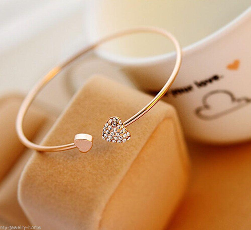 New Heart Crystal Love Opening Gold Bracelet Bangle Crystal Bracelets Bangles for Women Wedding Bride Jewelry