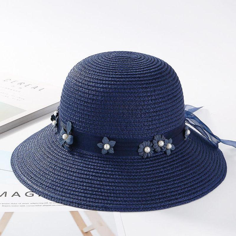 ffcb5239abfabd 2018 New Summer Women Straw Hat Ribbon Flower Sun Cap Pearl ...