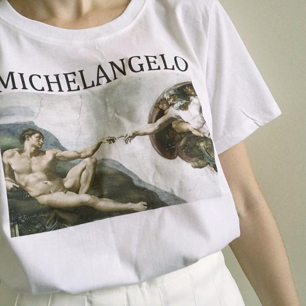Hahayule Michelangelo Cappella Sistina Art Print White T-shirt Women Tumblr  Fashion Vintage Graphic Tee Grunge Aesthetics Top Y19042101