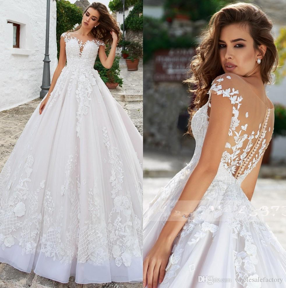 Traditional Wedding Gowns With Detachable Trains: Discount Sheer Cap Sleeves Lace A Line Wedding Dresses
