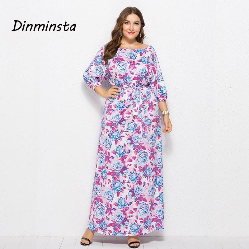 969f59b13194a Dinminsta Women Floral Print 3XL Plus Size Dresses Female Autumn Casual  Loose Long Maxi Dress Half Sleeve Oversized Frock Design Summer Floral  Dresses ...