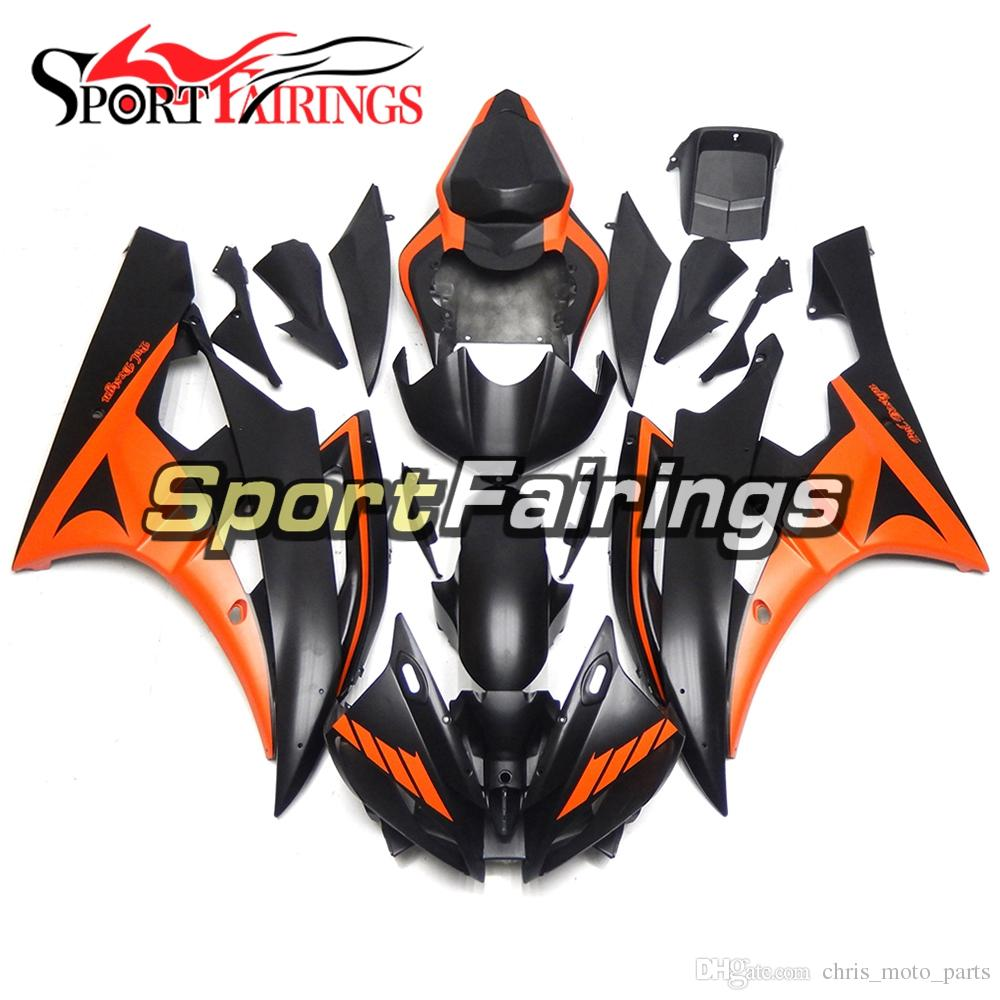 ABS Injection Molding Complete Matte Black Orange Full Cowlings For Yamaha YZF-600 R6 Year 2006 2007 ABS Plastic Fairing 06 07 R6