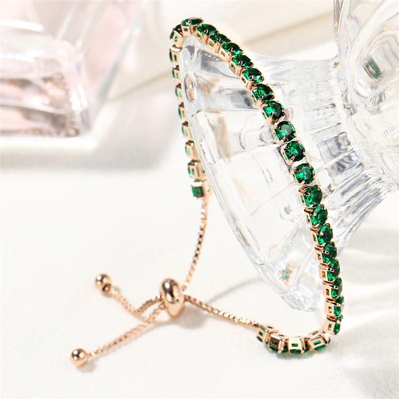 ROMAD Rhinestone Completo Pulsera Brazalete de Las Mujeres de Color Rosa de Cristal Pulsera de Cuentas Verde Piedra Femenina Encantos Pulseras pulseras mujer R3