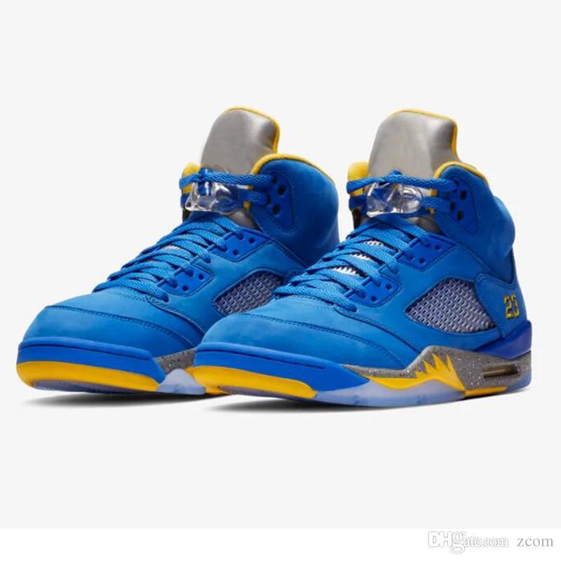 check out 62637 61e25 Compre Zapatillas De Baloncesto Nike Air Jordan 5 Laney JSP 2019 Nueva  Llegada Retro 5s Jumpman Varsity Royal Blue Brand Mujer Hombre Zapatillas  De Deporte ...