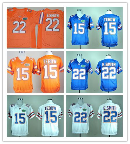 official photos da7b1 3f761 Mens College Florida Gators Football Jerseys NCAA 15 Tim Tebow Jersey 22  E.Smith Team Color Blue White Orange Embroider Jersey