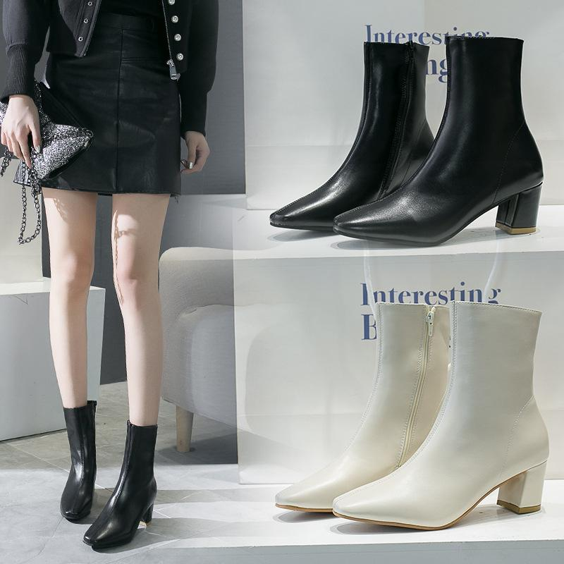 new product 471b5 31842 black high heels riding winter new ankle boots 2019 brand fenty beauty  luxury design skull gothic punk Rome Metal Decoration