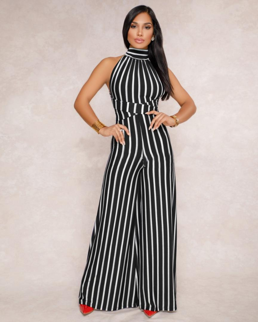 f40672ee88f8 2019 AHVIT Halter Bandage Sexy Jumpsuits Sleeveless Off The Shoulder  Backless Party Romper Striped Wide Leg Long Pants ZSC Y049 From Cutelove66