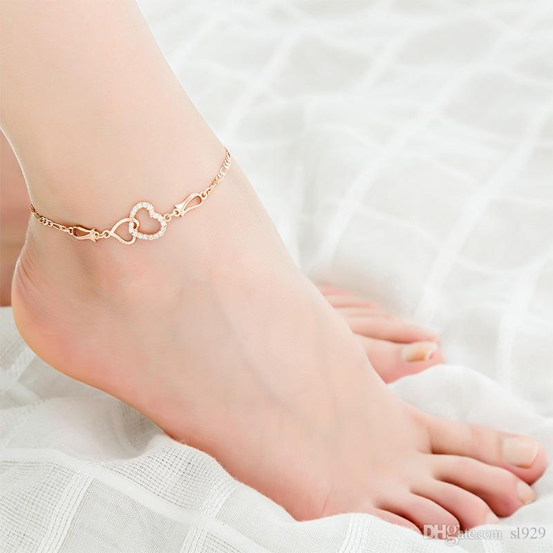 Europe And The United States New Environmental Protection Copper Fashion Double Love Austria Zircon Anklet Female Letter Anklet