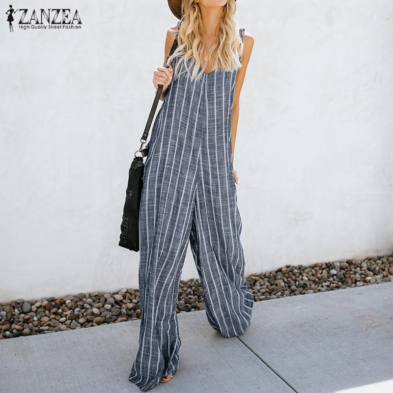 ca3cfd061f53 2018 Summer ZANZEA Women Sexy Deep V Neck Striped Jumpsuits Sleeveless  Overalls Rompers Casual Loose Work OL Wide Leg Pants 5XL Y1891808 Online  with ...
